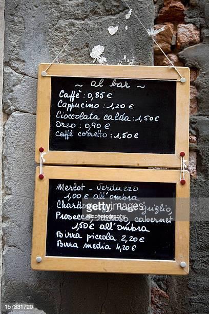 Wine Menu at Restaurant in Venice Italy