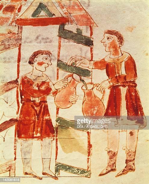 Wine merchantminiature from De universo by Rabano Mauro manuscript Italy 11th Century