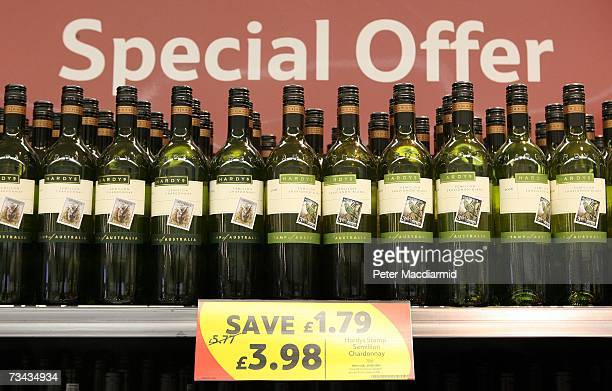 Wine of offer at a Tesco store on February 27 2007 in London England Tesco is the the UK's biggest supermarket chain with a 315% share of the total...
