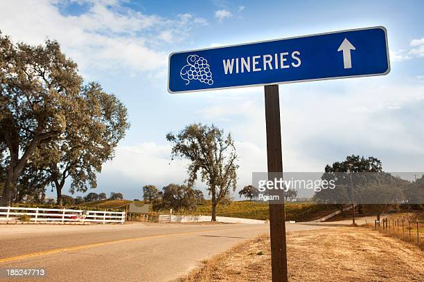 Wine region sign to wineries