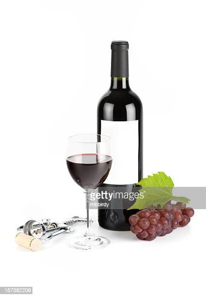 Wine still life, isolated on white background