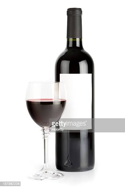 Wine still life (clipping path), isolated on white background