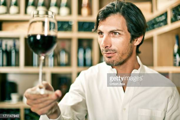Wine tasting in a cellar