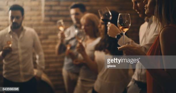 Wine tasting in a wine cellar.