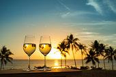 Wine with beautiful sunset setting.