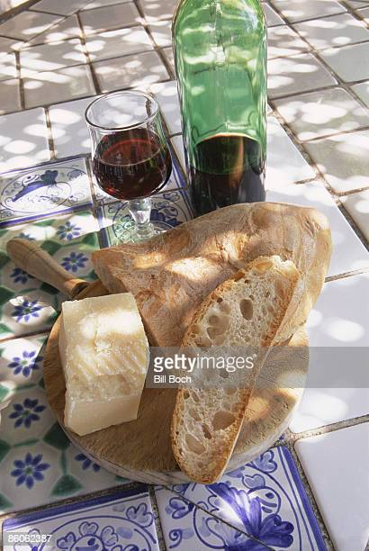 Wine with bread and parmesan cheese