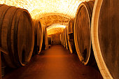 Wine wooden oak barrels photo