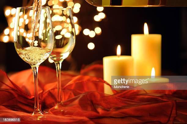Wein, Weihnachten und Kerze Licht