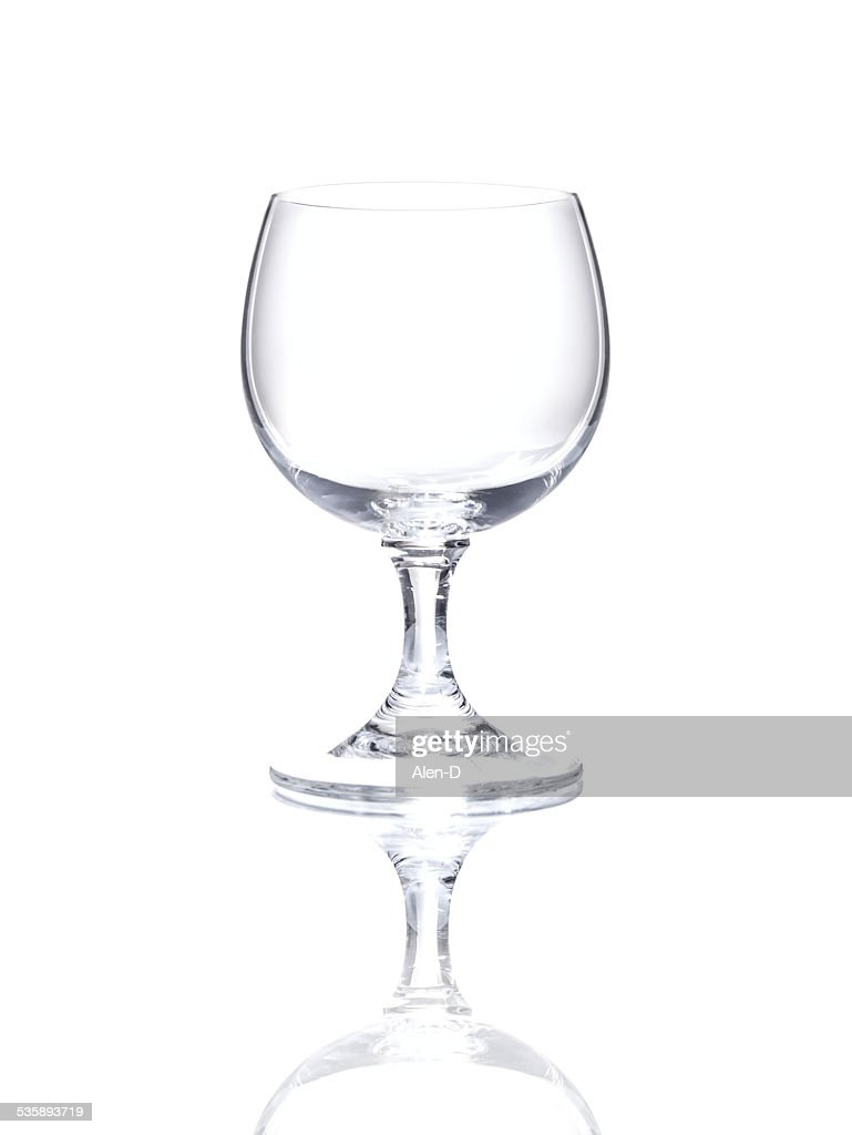 Wineglass over white background, cut out empty glass beaker : Stock Photo