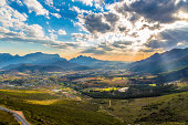 Scenic Franschhoek in the middle of the South African winelands with its beautiful vinyards