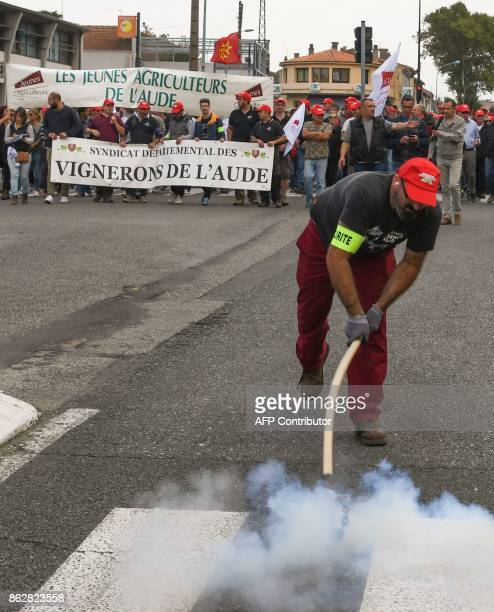 Winemakers demonstrate in the medieval city of Carcassonne southwestern France asking for government's aid after winemakers from the Aude department...