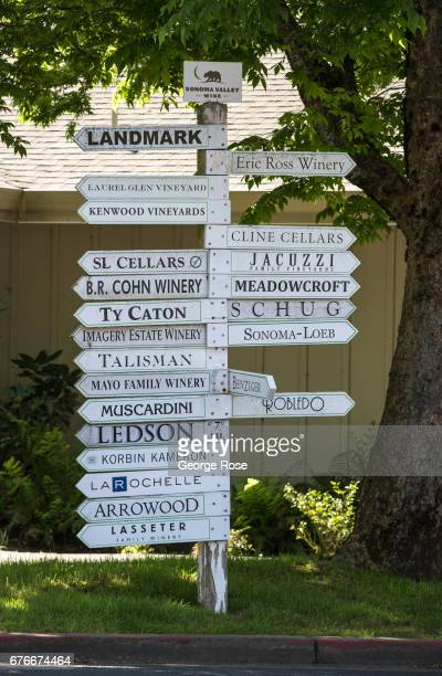 Winery directional signs on Arnold Drive are viewed on April 23 in Glen Ellen California After record winter rainfall battered the North Coast...