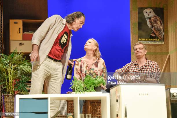 Winfried Glatzeder Claudia Rieschel and Heinrich Schafmeister during the 'Wir sind die Neuen' Rehearsal at Komoedie am Kurfuerstendamm on April 27...