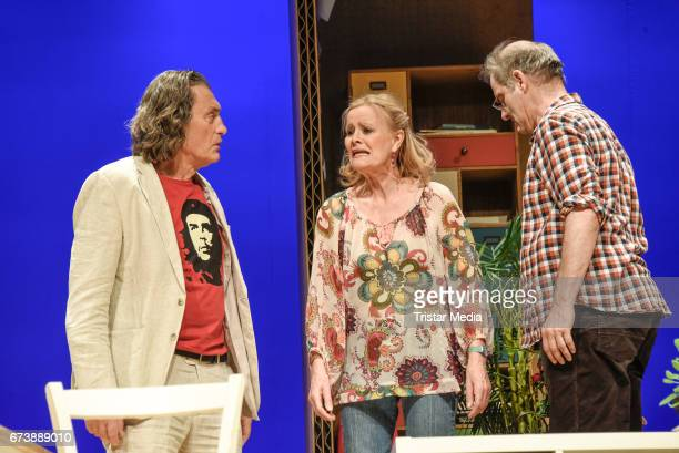 Winfried Glatzeder Claudia Rieschel and Heinrich Schafmeister during the 'Wir sind die Neuen'Rehearsal at Komoedie am Kurfuerstendamm on April 27...