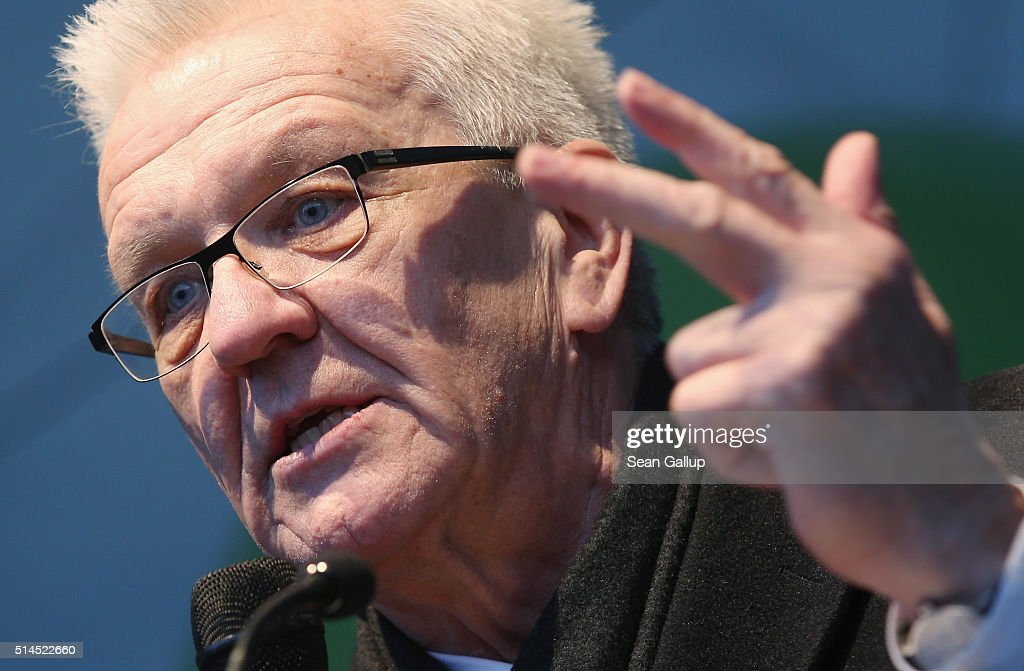 <a gi-track='captionPersonalityLinkClicked' href=/galleries/search?phrase=Winfried+Kretschmann&family=editorial&specificpeople=7227897 ng-click='$event.stopPropagation()'>Winfried Kretschmann</a>, incumbent governor of Baden-Wuerttemberg and member of the German Greens Party (Buendnis 90/Die Gruenen), speaks to supporters at a Baden-Wuerttemberg state election rally on March 9, 2016 in Stuttgart, Germany. State elections scheduled for March 13 in three German states: Rhineland-Palatinate, Saxony-Anhalt and Baden-Wuerttemberg, will be a crucial test-case for German Chancellor and Chairwoman of the German Christian Democrats (CDU) Angela Merkel, who has come under increasing pressure over her liberal immigration policy towards migrants and refugees. The populist Alternative fuer Deutschland (Alternative for Germany, AfD), with campaign rhetoric aimed at Germans who are uneasy with so many newcomers, has solid polling numbers and will almost certainly win seats in all three state parliaments.