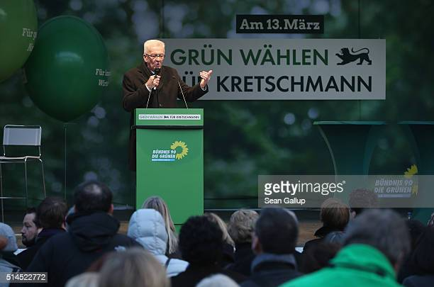 Winfried Kretschmann incumbent governor of BadenWuerttemberg and member of the German Greens Party speaks to supporters at a BadenWuerttemberg state...