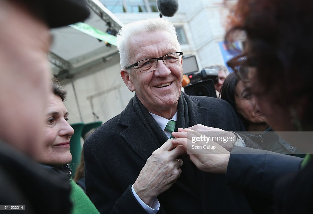 <a gi-track='captionPersonalityLinkClicked' href=/galleries/search?phrase=Winfried+Kretschmann&family=editorial&specificpeople=7227897 ng-click='$event.stopPropagation()'>Winfried Kretschmann</a>, incumbent governor of Baden-Wuerttemberg and member of the German Greens Party (Buendnis 90/Die Gruenen), attends a Baden-Wuerttemberg Greens state election rally on March 9, 2016 in Stuttgart, Germany. State elections scheduled for March 13 in three German states: Rhineland-Palatinate, Saxony-Anhalt and Baden-Wuerttemberg, will be a crucial test-case for German Chancellor and Chairwoman of the German Christian Democrats (CDU) Angela Merkel, who has come under increasing pressure over her liberal immigration policy towards migrants and refugees. The populist Alternative fuer Deutschland (Alternative for Germany, AfD), with campaign rhetoric aimed at Germans who are uneasy with so many newcomers, has solid polling numbers and will almost certainly win seats in all three state parliaments.