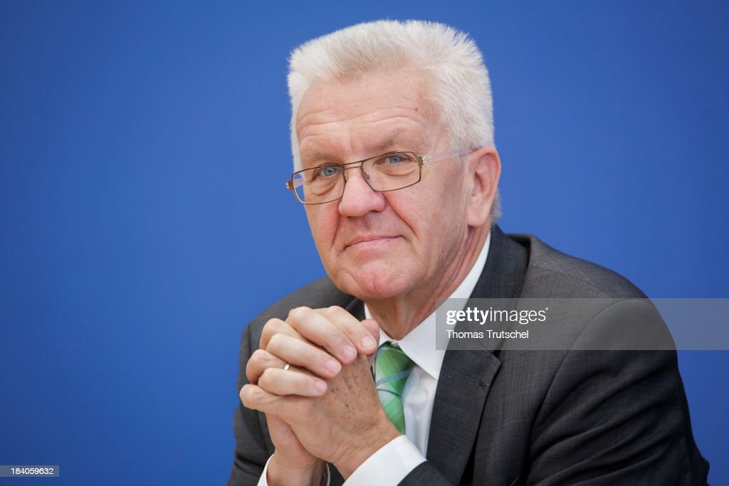 Winfried Kretschmann, Minister-President of the state of Baden-Wuerttemberg attends a press conference at Bundespressekonferenz on October 11, 2013 in Berlin, Germany.