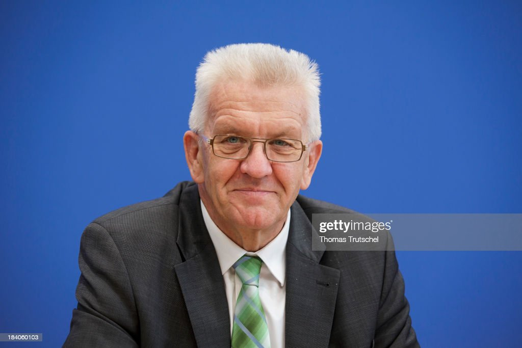 <a gi-track='captionPersonalityLinkClicked' href=/galleries/search?phrase=Winfried+Kretschmann&family=editorial&specificpeople=7227897 ng-click='$event.stopPropagation()'>Winfried Kretschmann</a>, Minister-President of the state of Baden-Wuerttemberg attends a press conference at Bundespressekonferenz on October 11, 2013 in Berlin, Germany.