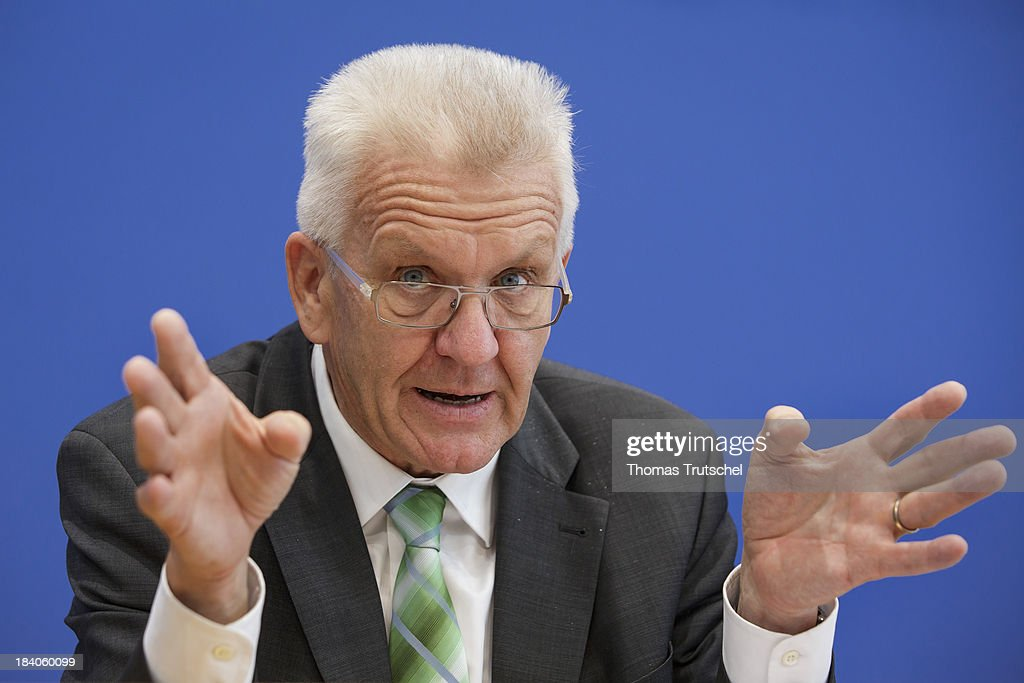 Winfried Kretschmann, Minister-President of the state of Baden-Wuerttemberg speaks during a press conference at Bundespressekonferenz on October 11, 2013 in Berlin, Germany.