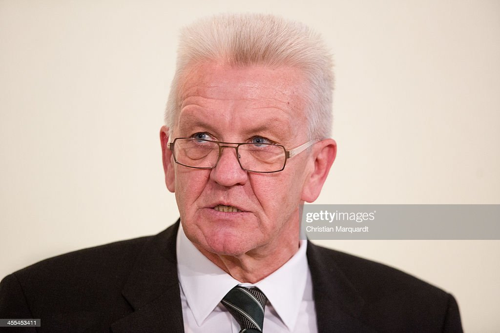 <a gi-track='captionPersonalityLinkClicked' href=/galleries/search?phrase=Winfried+Kretschmann&family=editorial&specificpeople=7227897 ng-click='$event.stopPropagation()'>Winfried Kretschmann</a> talks to the media after the discussions of the chiefs of the country on December 12, 2013 in Berlin, Germany. This year the conference take place in the Baden-Wuerttembergische representation in Berlin.