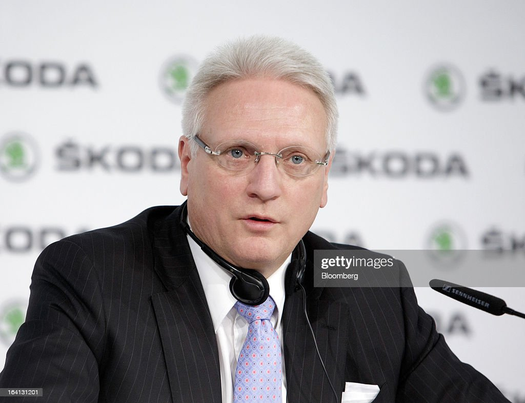 Winfried Vahland, chief executive officer of Skoda Auto AS, the Czech unit of Volkswagen AG, speaks during the results news conference in Mlada Boleslav, Czech Republic, on Wednesday, March 20, 2013. Volkswagen AG's Czech brand Skoda said it's 'fundamentally' confident that 2013 deliveries will rise as the introduction of a new Octavia small car version and Spaceback hatchback more than offsets a drop in European demand. Photographer: Martin Divisek/Bloomberg via Getty Images