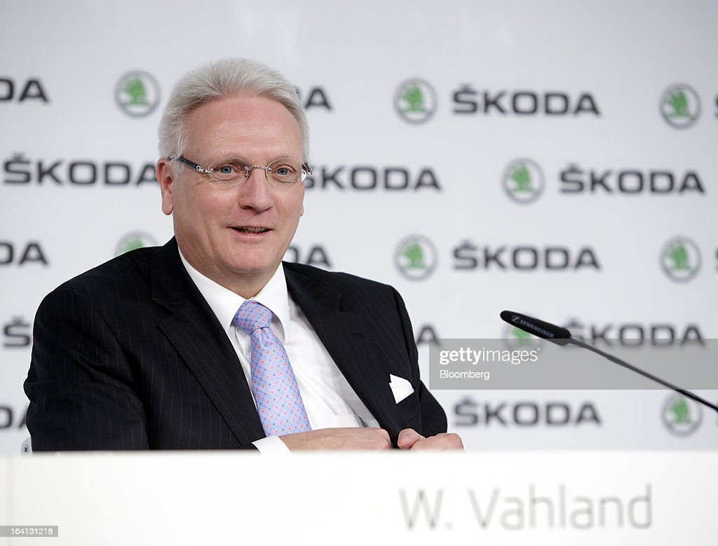 Winfried Vahland, chief executive officer of Skoda Auto AS, the Czech unit of Volkswagen AG, pauses during the results news conference in Mlada Boleslav, Czech Republic, on Wednesday, March 20, 2013. Volkswagen AG's Czech brand Skoda said it's 'fundamentally' confident that 2013 deliveries will rise as the introduction of a new Octavia small car version and Spaceback hatchback more than offsets a drop in European demand. Photographer: Martin Divisek/Bloomberg via Getty Images