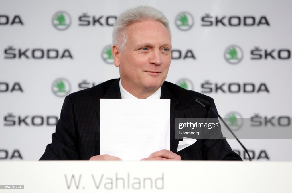 "Winfried Vahland, chief executive officer of Skoda Auto AS, the Czech unit of Volkswagen AG, arranges paperwork ahead of the results news conference in Mlada Boleslav, Czech Republic, on Wednesday, March 20, 2013. Volkswagen AG's Czech brand Skoda said it's 'fundamentally"" confident that 2013 deliveries will rise as the introduction of a new Octavia small car version and Spaceback hatchback more than offsets a drop in European demand. Photographer: Martin Divisek/Bloomberg via Getty Images"