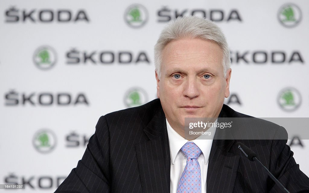 "Winfried Vahland, chief executive officer of Skoda Auto AS, the Czech unit of Volkswagen AG, pauses during the results news conference in Mlada Boleslav, Czech Republic, on Wednesday, March 20, 2013. Volkswagen AG's Czech brand Skoda said it's 'fundamentally"" confident that 2013 deliveries will rise as the introduction of a new Octavia small car version and Spaceback hatchback more than offsets a drop in European demand. Photographer: Martin Divisek/Bloomberg via Getty Images"