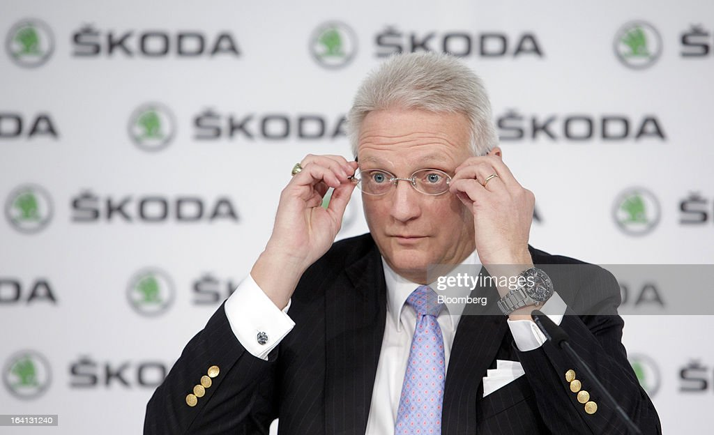 "Winfried Vahland, chief executive officer of Skoda Auto AS, the Czech unit of Volkswagen AG, adjusts his glasses during the results news conference in Mlada Boleslav, Czech Republic, on Wednesday, March 20, 2013. Volkswagen AG's Czech brand Skoda said it's 'fundamentally"" confident that 2013 deliveries will rise as the introduction of a new Octavia small car version and Spaceback hatchback more than offsets a drop in European demand. Photographer: Martin Divisek/Bloomberg via Getty Images"