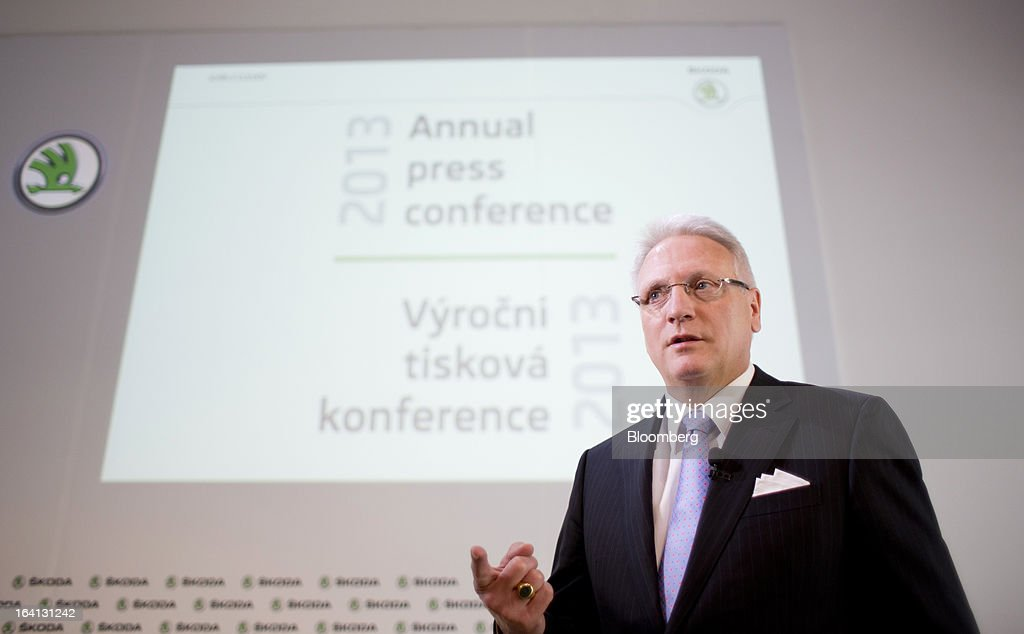 "Winfried Vahland, chief executive officer of Skoda Auto AS, the Czech unit of Volkswagen AG, gestures as he speaks during the results news conference in Mlada Boleslav, Czech Republic, on Wednesday, March 20, 2013. Volkswagen AG's Czech brand Skoda said it's 'fundamentally"" confident that 2013 deliveries will rise as the introduction of a new Octavia small car version and Spaceback hatchback more than offsets a drop in European demand. Photographer: Martin Divisek/Bloomberg via Getty Images"