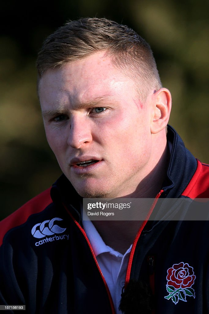 Wing Chris Ashton speaks to the media following the England training session at Pennyhill Park on November 29, 2012 in Bagshot, England.