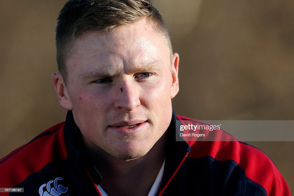 Wing <a gi-track='captionPersonalityLinkClicked' href=/galleries/search?phrase=Chris+Ashton&family=editorial&specificpeople=2649431 ng-click='$event.stopPropagation()'>Chris Ashton</a> speaks to the media following the England training session at Pennyhill Park on November 29, 2012 in Bagshot, England.