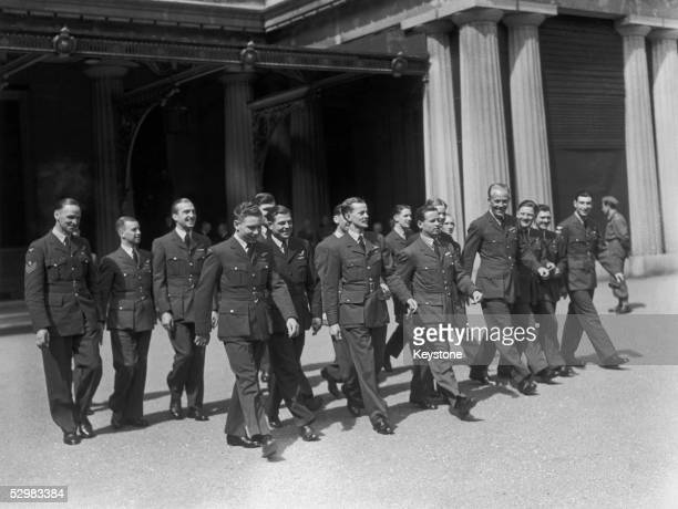 Wing Commander Guy Gibson with the other members of his squadron who took part in the Dambusters raid during World War II They are attending an...
