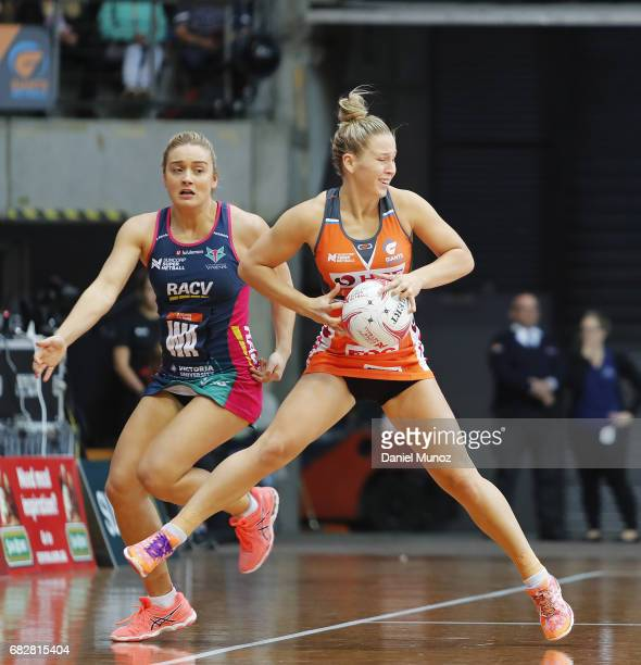 Wing defence JamieLee Price catches the ball during the round 12 Super Netball match between the Giants and the Vixens at AIS on May 14 2017 in...
