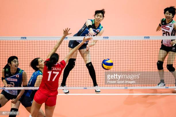 Wing spiker Risa Shinnabe of Japan spikes the ball during the FIVB Volleyball World Grand Prix match between Japan vs Russia on July 23 2017 in Hong...