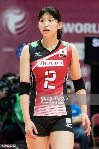 Wing spiker Sarina Koga of Japan reacts during the FIVB Volleyball World Grand Prix Hong Kong 2017 match between Japan and Serbia on 22 July 2017 in...