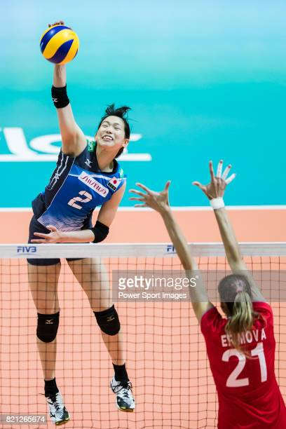 Wing spiker Sarina Koga of Japan spikes the ball during the FIVB Volleyball World Grand Prix Hong Kong 2017 match between Japan and Russia on July 23...