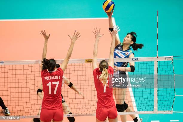 Wing spiker Sarina Koga of Japan spikes the ball during the FIVB Volleyball World Grand Prix match between Japan vs Russia on July 23 2017 in Hong...