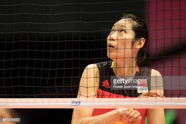Wing spiker Ting Zhu of China in action during the FIVB Volleyball World Grand Prix match between China vs Serbia on July 23 2017 in Hong Kong Hong...