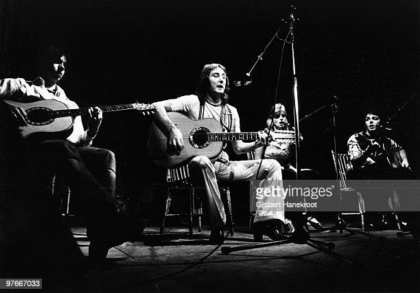 Wings perform live on stage at Ahoy in Rotterdam Netherlands on March 25 1976 LR Jimmy McCulloch Denny Laine Linda McCartney Paul McCartney