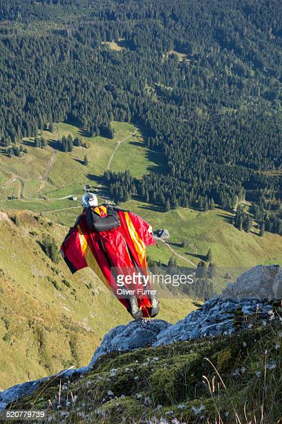 Wingsuit jumper exited from a cliff down