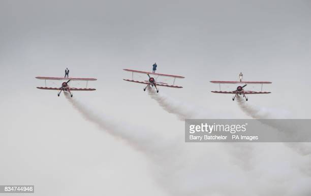 Wingwalk over Gloucestershire with vicar George Brigham and bride and groom Katie Hodgson and Darren McWalters