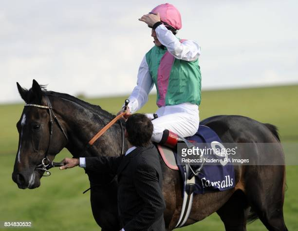 Wingwalker ridden by Tom Queally after being beaten in The Somerville Tattersall Stakes at Newmarket Racecourse Suffolk
