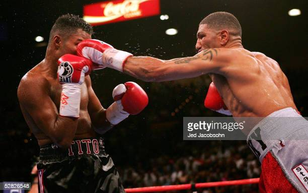 Winky Wright throws a left against Felix 'Tito' Trinidad during the middleweight fight at the MGM Grand Garden Arena on May 14 2005 in Las Vegas...