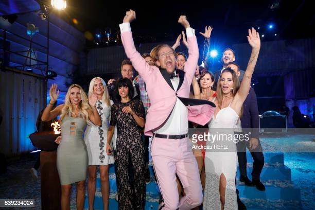 Winner 2017 Jens Hilbert celebrates during the finals of 'Promi Big Brother 2017' at MMC Studio on August 25 2017 in Cologne Germany