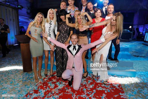 Winner 2017 Jens Hilbert celebrates with participants during the finals of 'Promi Big Brother 2017' at MMC Studio on August 25 2017 in Cologne Germany