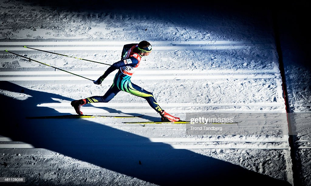 Winner <a gi-track='captionPersonalityLinkClicked' href=/galleries/search?phrase=Alexey+Poltoranin&family=editorial&specificpeople=4131263 ng-click='$event.stopPropagation()'>Alexey Poltoranin</a> of Kazakhstan one meter before finish line and victory in the Mens 10.0 km Individual, Classic Tour de Ski on January 7, 2015 in Toblach Hochpustertal, Italy.