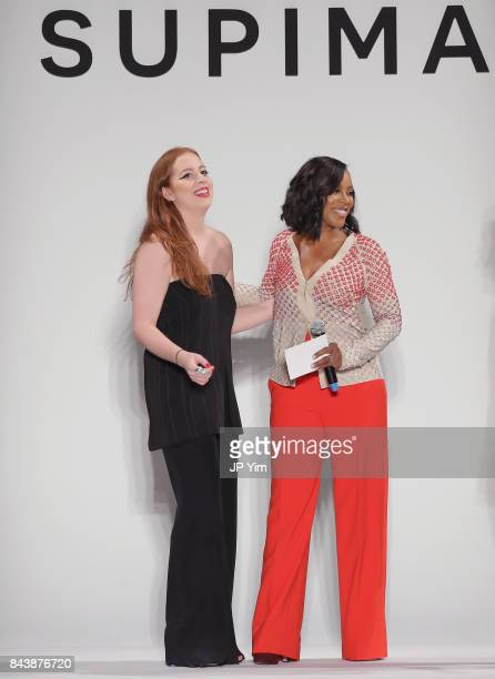 Winner Alyssa Wardrop FIT and June Ambrose attend Supima Design Competition SS18 runway show during New York Fashion Week at Pier 59 on September 7...
