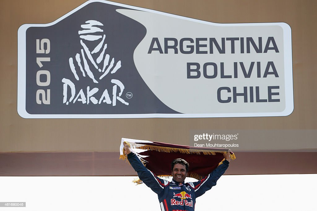 Winner and now Dakar champion #301 Nasser Al Attiyah of Qatar and Mathieu Baumel of France for the ALL4 Racing Mini Qatar Rally Team celebrates the...